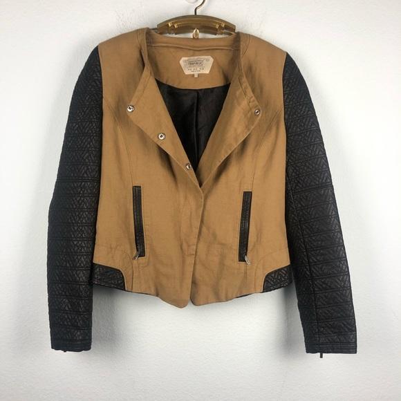 Zara Jackets & Blazers - Zara asymmetrical tan leather sleeve moto jacket